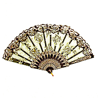Elegant Rose Flower Lace Handheld Folding Hand Fan for Dancing and Costumes