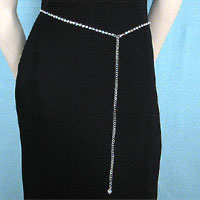 Narrow One Line Crystal Rhinestone Belt