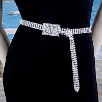Medium 4 Line Crystal Rhinestone Belt