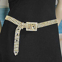 Five Line Crystal Rhinestone Belt with Rectangular Buckle