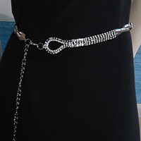 Five Line Rhinestone and Mesh Belt