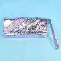 Long Metallic Faux Leather Purse with Sequins and Glitter