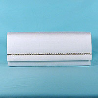Long Sparkle Satin Clutch with Rhinestone Trim