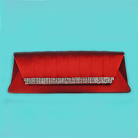 Evening Bag Clutch with Pleated Flap and Rhinestone Band