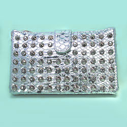 Silver Snake Evening Bag Clutch with Gold Studs and Rhinestones