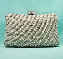 Crystal Rhinestone and Pearl Evening Bag Clutch