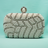 Pearl and Rhinestone Evening Bag Clutch Purse in a Abstract Design