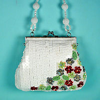 Small White Sequined Evening Bag with Colored Flowers