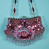 Beaded and Sequined Fringe Purse with Beaded Handle