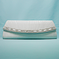 Long Satin Evening Bag Clutch Purse with  Rhinestone Trim
