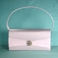 Satin rhinestone handle purse