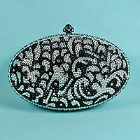 Crystal Rhinestone Evening Bag with Black and Clear STones