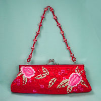 Embroidered and Beaded Satin Evening Bag Clutch