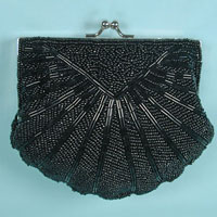 Beaded Shell Evening Bag Clutch Purse in Starburst Design