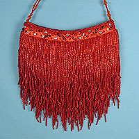 Evening Bag with Layered Beaded Fringe Sides and Beaded Strap