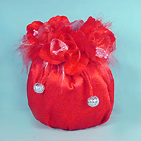 Satin Drawstring with Flowers and Feathers