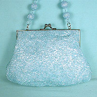 Evening Handle Bag or Clutch Bag with Beaded Ball Handle
