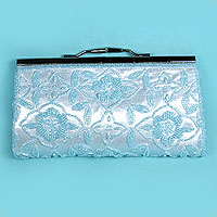Satin Beaded Evening Bag Clutch Purse
