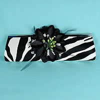 Zebra Clutch Evening Bag with Large Black Flower