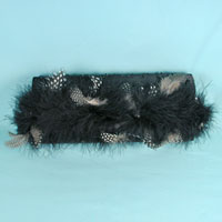Feather Trimmed Evening Bag Clutch Bag