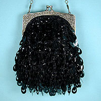 Beaded and Sequined Vintage Look Evening Bag