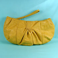Faux Leather Bag with Tucks, Pleats and Wrist Handle