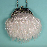 Vintage Look Small Satin Beaded Bag with Faux Antique Frame