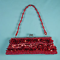 Sequined and Beaded Long Evening Bag