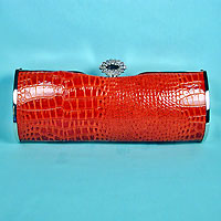 Faux Snake Red Evening Purse Clutch Bag with Rhinestone Clasp