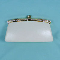 Faux Leather Clutch with Rhinestone Trim