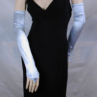 Long Satin Stretch Fingerless Opera Gloves