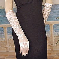 Shirred Satin Gloves