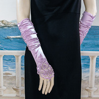 Embroidered Satin Fingerless Gloves