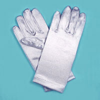 Wrist Satin Stretch Gloves for Children, Ages 3-7