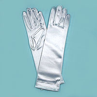 Long Satin Stretch Gloves for Children, Ages 7-17