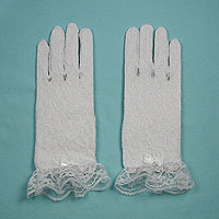 Lace Wrist Gloves with Ruffle and Bow for Children Ages 3-7