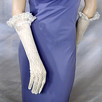 Stretch Nylon Lace Ruffle Gloves