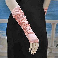 Fingerless Shirred Satin Gloves