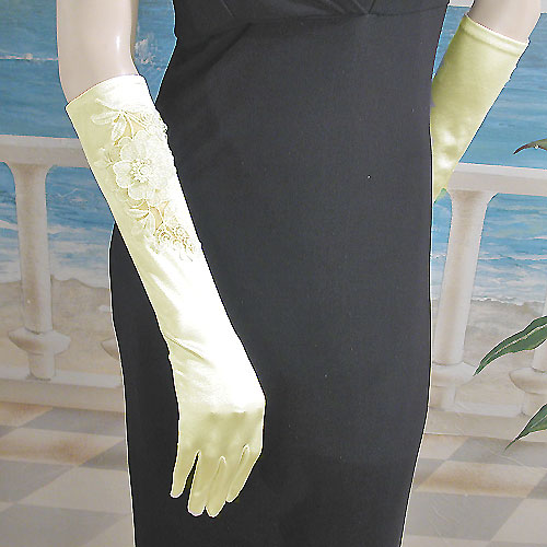 Long Satin Gloves with Appliqued Flowers