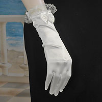 Lace Trimmed Satin Wrist Gloves  with Bow