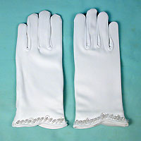 Wrist Length Beaded and Sequined Gloves for Children 4-7