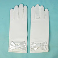 Matte Satin Gloves with Bow for Children Ages 3-6