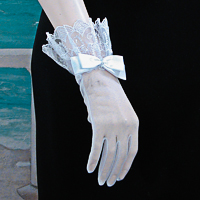 Sheer Wrist Length Gloves, Lace Ruffle, Satin Bow