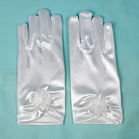 Satin Wrist Gloves with Decoration for Children Ages 3-6