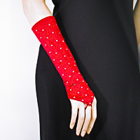Rhinestone Studded Long Fingerless Satin Stretch Gloves
