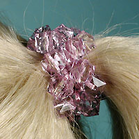 Scrunchy  with Large Square Faceted Lucite Beads