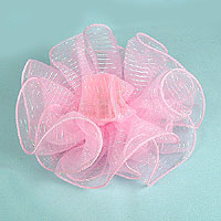 Chiffon Clip Claw Hair Bow with Metallic Stripes