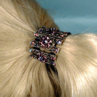 Metal Ponytail Bob with Colored Rhinestone Crystals