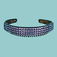 Wide Crystal Rhinestone Headband with Comb