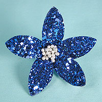 Glitter Flower Hair Clips with Wired Petals